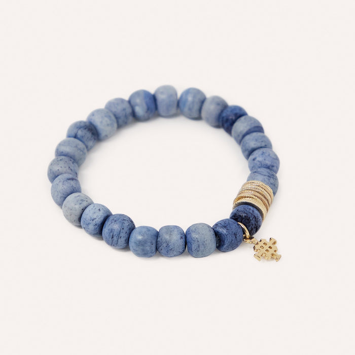 Lala Beaded Stretch Bracelet in Bone