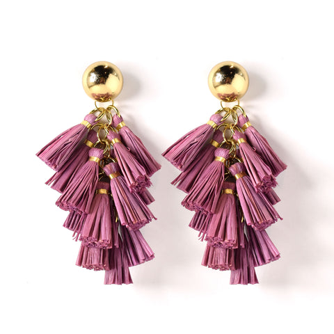 Harper Raffia Tassel Statement Earring in Lilac