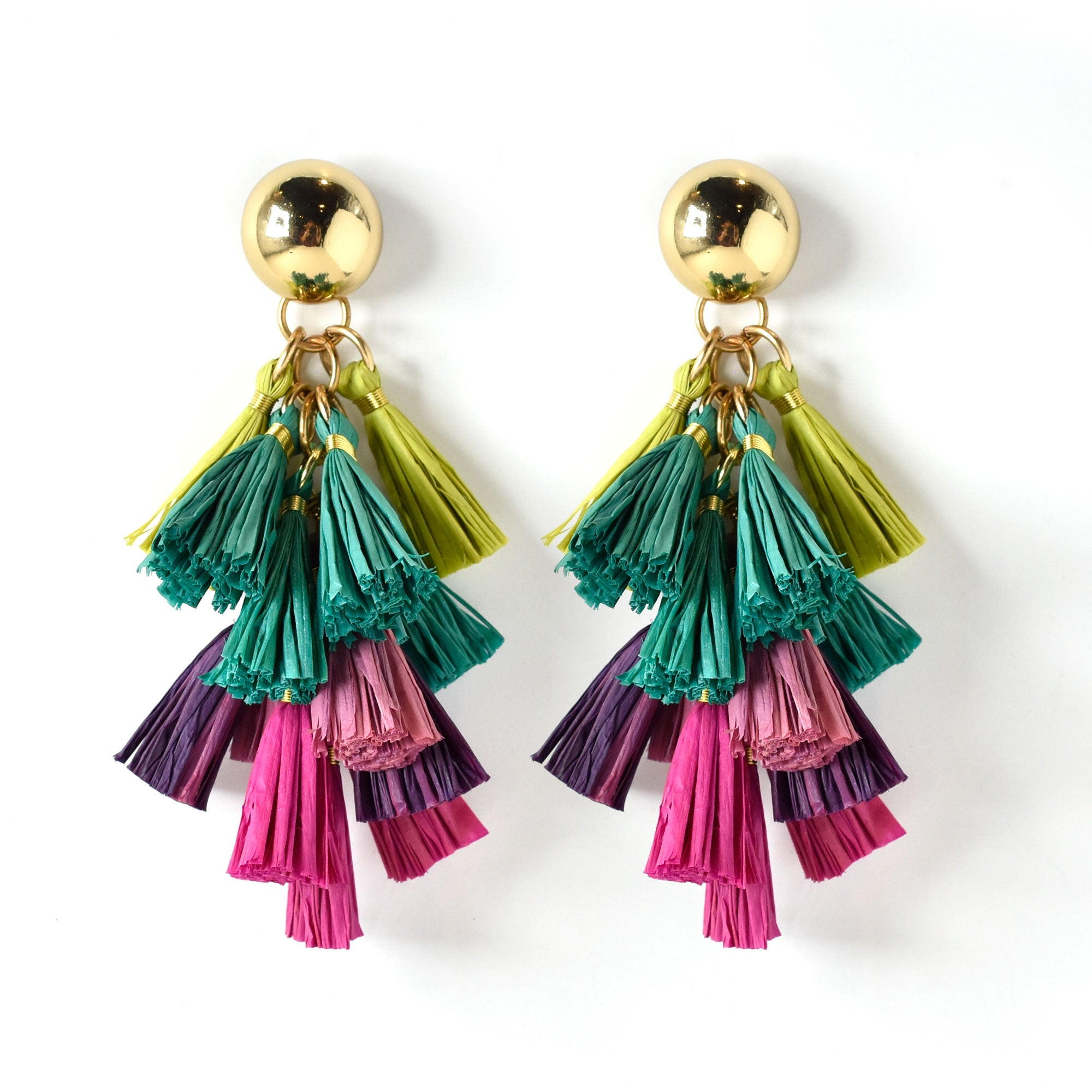 Harper Raffia Tassel Statement Earring in Multicolor