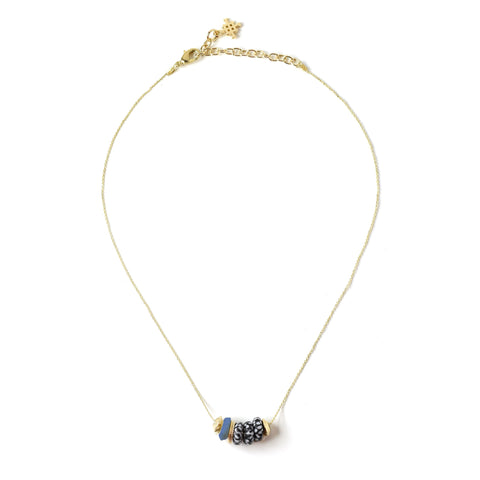 Nala Dainty Glass & Bone Bead Necklace in Blue