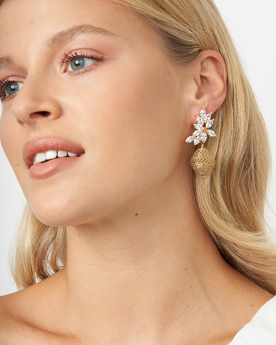Belle Crystal and Chain Wrapped Karatasi Drop Earring - Akola