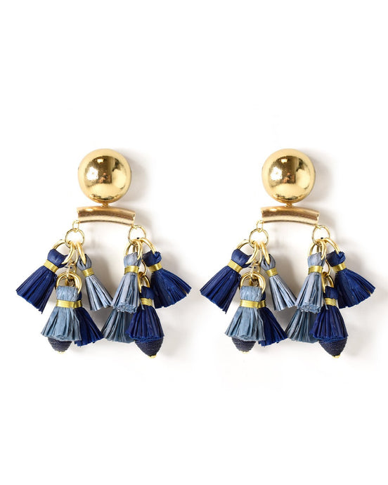 Double Raffia Cluster Statement Earring in Blue Multi - Akola