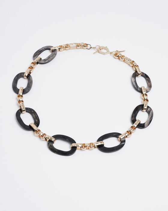 Sui Horn and Chain Link Necklace - Akola