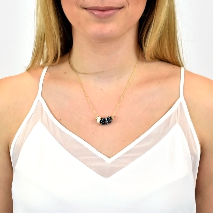 Nala Dainty Glass & Bone Bead Necklace in Blonde