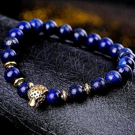 Tiger Eye Or Blue Lapis <br>& Gold Leopard Head | Bracelets | VapeCave | Australia