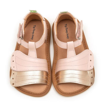 Tip Toey Joey Girl's Flitty Sandals, Cotton Candy/Metallic Salmon