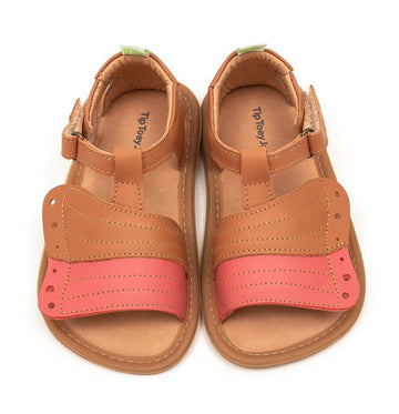 Tip Toey Joey Girl's Flitty Sandals, Amendoim/ Coral Matte