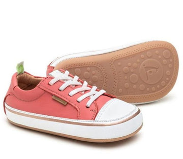 Tip Toey Joey Girl's Funky Sneakers, Coral Matte/White
