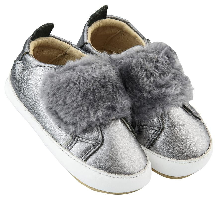 Old Soles Boy's and Girl's Bambini Pet Premium Leather First Walker Sneaker Shoes, Silver