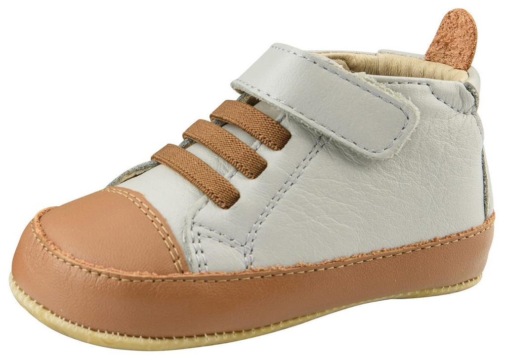 Old Soles Boy's High Ball Premium Leather First Walker Sneaker Shoes, Gris/Tan