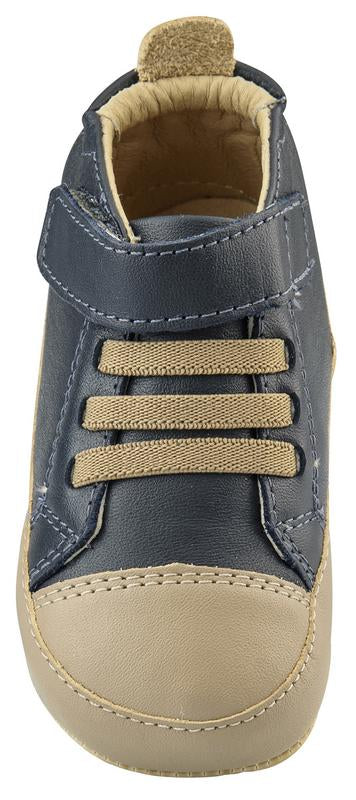 Old Soles Boy's High Ball Premium Leather First Walker Sneaker Shoes, Navy/Taupe