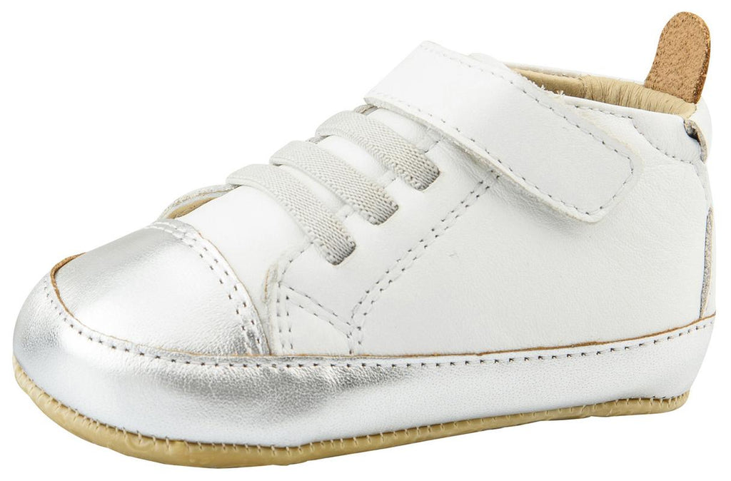 Old Soles Boy's and Girl's High Ball Premium Leather First Walker Sneaker Shoes, Snow/Silver