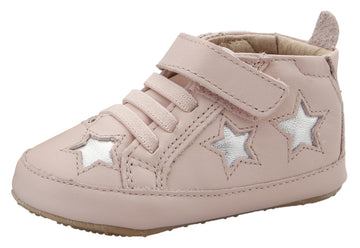 Old Soles Girl's High Splash Premium Leather Shoes - Powder Pink/Silver