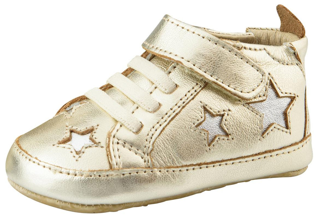 Old Soles Girl's and Boy's High Splash Premium Leather Shoes, Gold/Silver