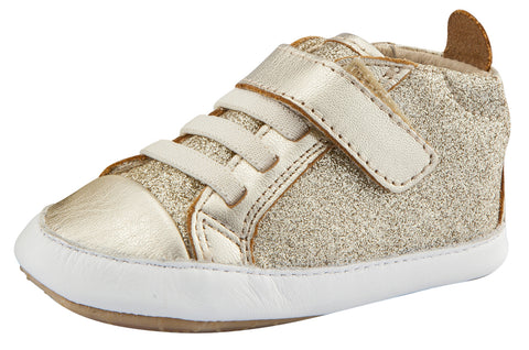 Old Soles Girl's and Boy's Cheer Glam Flexible Rubber First Walker Sneakers, Glam Gold