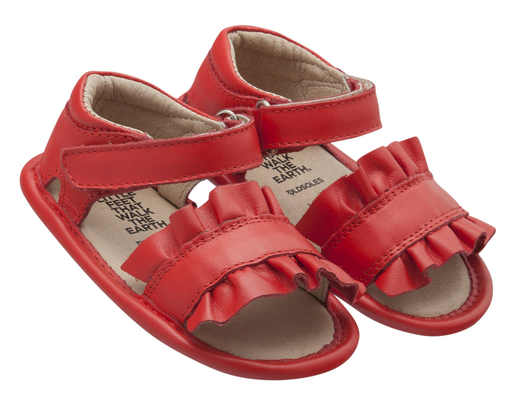 Old Soles Girl's Ruffle Baby Flexible Rubber First Walker Sandals, Bright Red