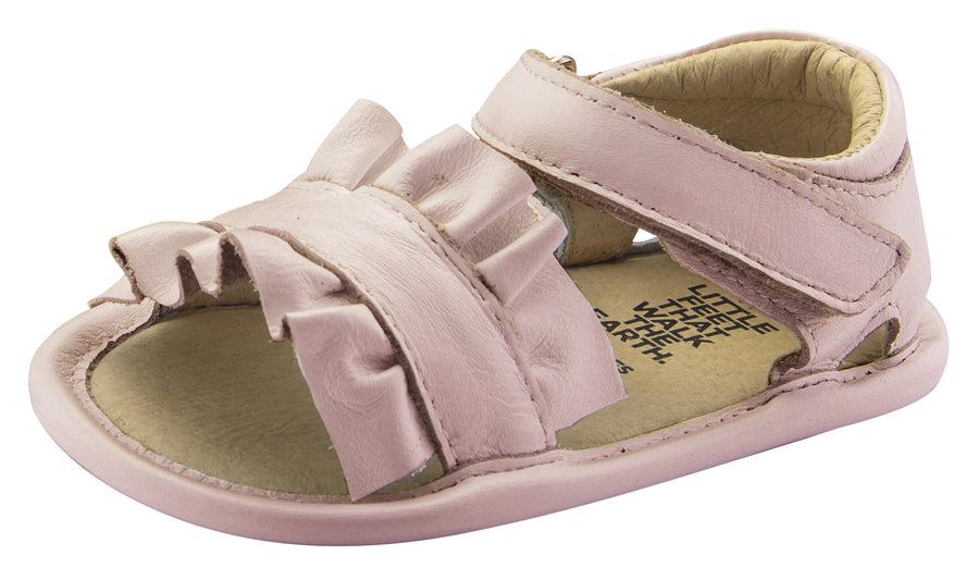 Old Soles Girl's Ruffle Baby Flexible Rubber First Walker Sandals, Powder Pink