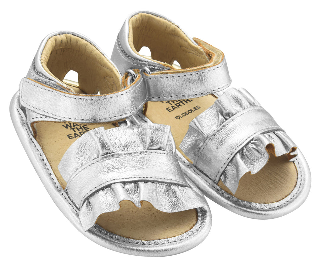 Old Soles Girl's Ruffle Baby Flexible Rubber First Walker Sandals, Silver