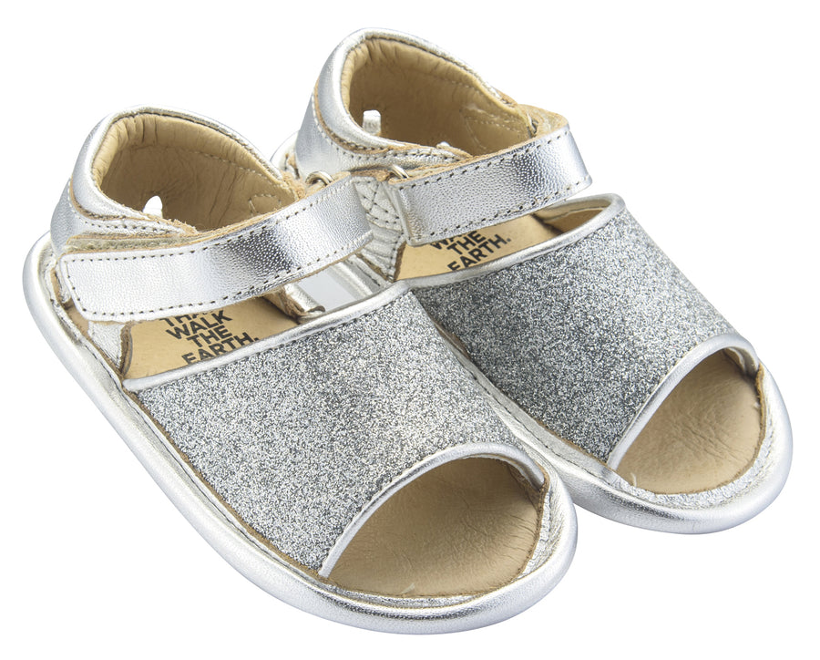 Old Soles Girl's Glam Bub Flexible Rubber First Walker Sandals, Glam Argent