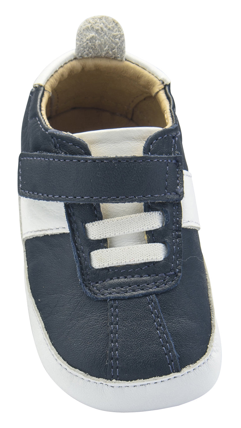 Old Soles Boy's Vintage Baby Flexible Rubber First Walker Sneakers, Navy Blue