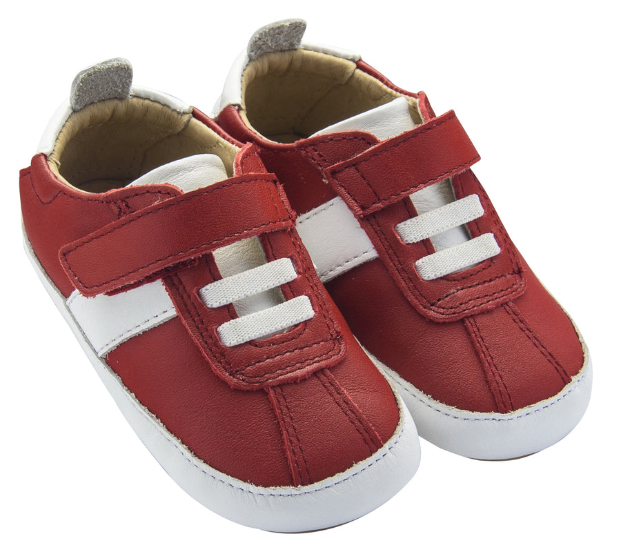 Old Soles Boy's Vintage Baby Flexible Rubber First Walker Sneakers, Red