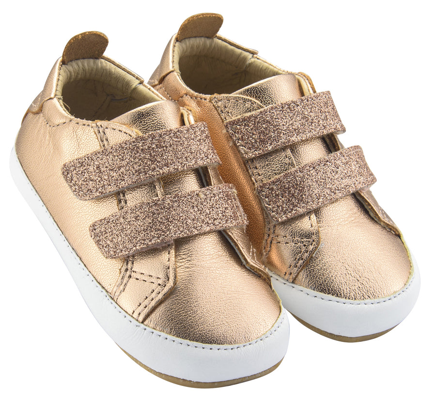 Old Soles Girl's Bambini Glam Flexible Rubber First Walker Sneakers, Glam Copper