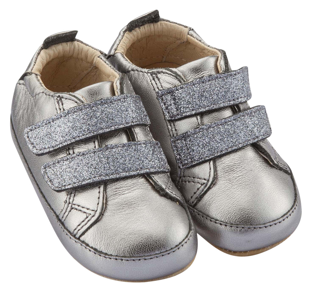 Old Soles Boy's and Girl's Bambini Glam Flexible Rubber First Walker Sneakers, Rich Silver