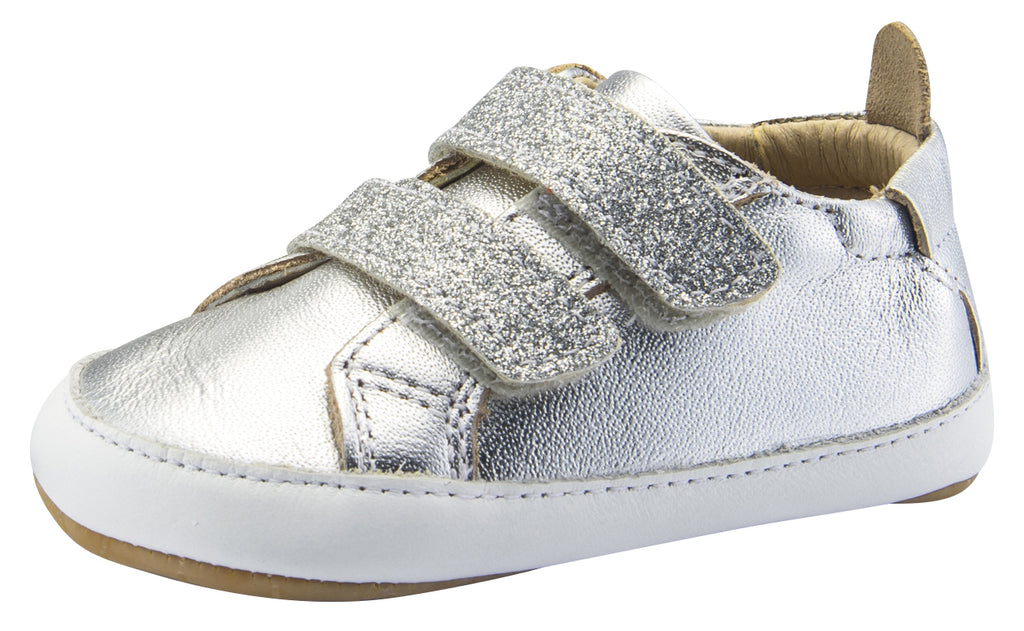Old Soles Boy's and Girl's Bambini Glam Flexible Rubber First Walker Sneakers, Glam Argent