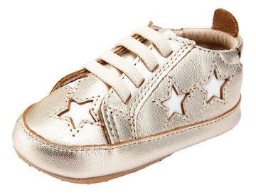 Old Soles Girl's and Boy's 0024R Starey Bambini Elastic Slip On Sneakers - Gold/Snow