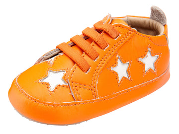 Old Soles Girl's and Boy's 0024R Starey Bambini Elastic Slip On Sneakers - Neon Orange/Snow