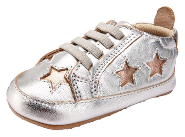 Old Soles Girl's and Boy's 0024R Starey Bambini Elastic Slip On Sneakers - Silver/Copper