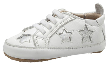 Old Soles Girl's & Boy's 0024R Starey Bambini White with Silver Stars Leather Elastic Slip On Sneakers