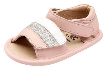 Old Soles Girl's 0035 Mini Jetsetter Walker Sandals - Powder Pink/Snow/Glam Argent