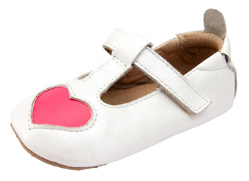Old Soles Girl's Ohme Heart T-Strap Shoes - Nacardo Blanco/Neon Pink