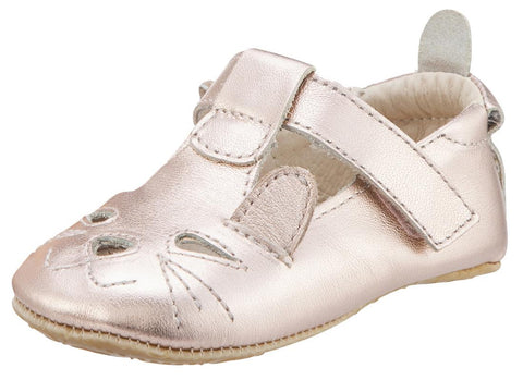 Old Soles Girl's 006 Cutesy Shoe Kitty Detail Copper Metallic Leather Mary Jane Flats