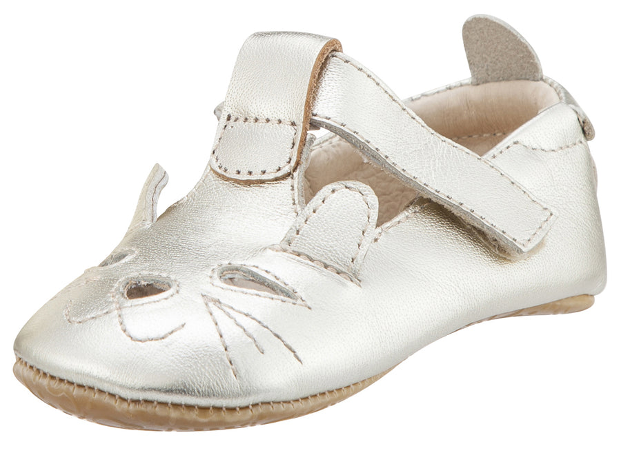 Old Soles Girl's 006 Cutesy Shoe Kitty Detail Gold Leather Mary Jane Flats