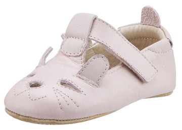 Old Soles Girl's 006 Cutesy Shoe Kitty Detail Powder Pink Leather Mary Jane Flats
