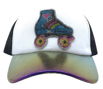 Bari Lynn Big Girl's/Women's Crystal Roller Skate Trucker Hat