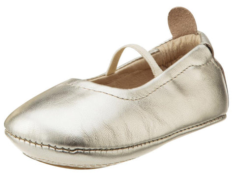 Old Soles Girl's 013 Luxury Ballet Flat Gold Soft Leather Elastic Mary Jane Crib Walker Baby Shoes