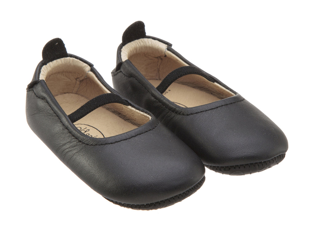 Old Soles Girl's 013 Luxury Ballet Black Leather Elastic Mary Jane Flat Shoe