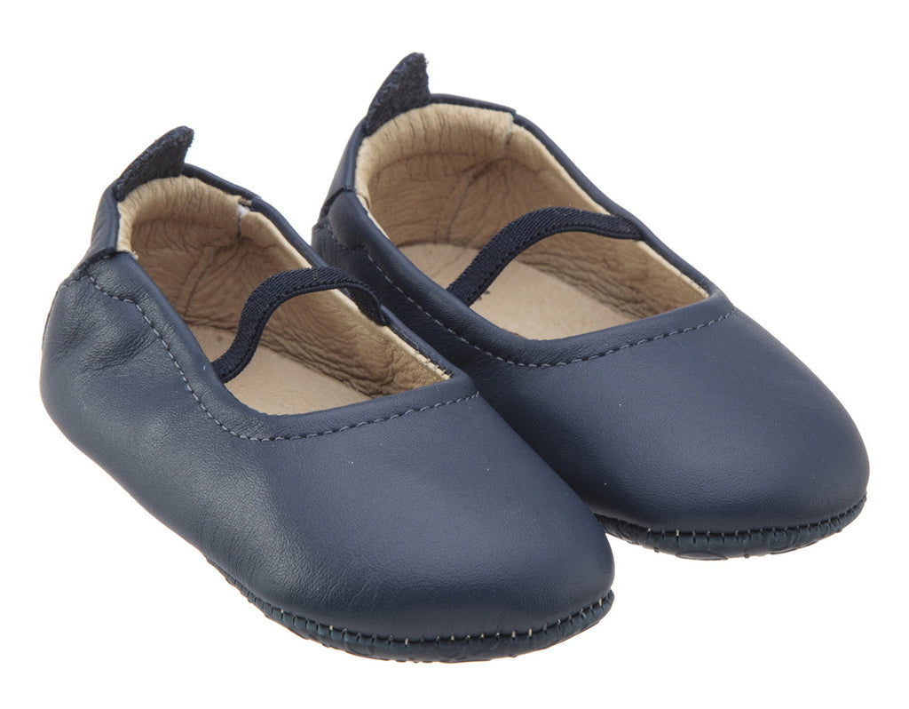 Old Soles Girl's 013 Luxury Ballet Denim Leather Elastic Mary Jane Flat Shoe