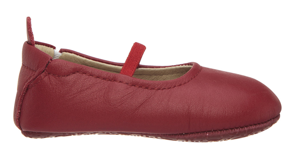 Old Soles Girl's 013 Luxury Ballet Red Leather Elastic Mary Jane Flat Shoe