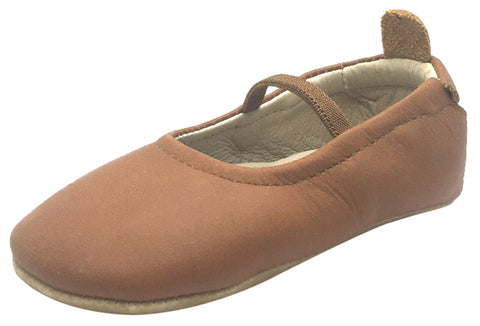 Old Soles Girl's 013 Luxury Ballet Tan Leather Elastic Mary Jane Flat Shoe