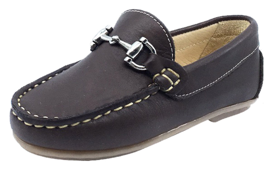 Andanines Boy's Chain Loafers, Moro Brown