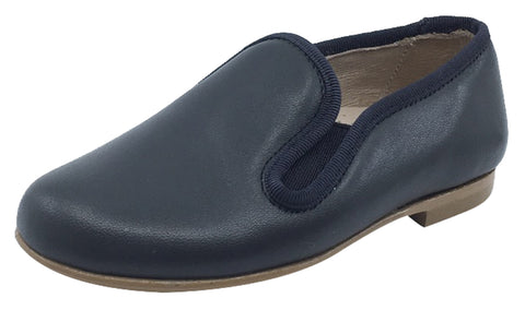 Hoo Shoes  Boy's and Girl's Smoking Loafer, Dark Charcoal Leather