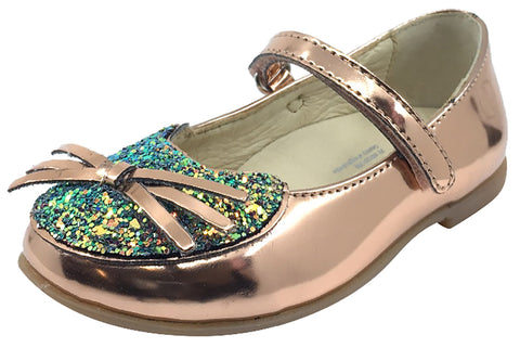 Naturino Girl's Glitter Kitty Rose Gold Mary Jane Flats