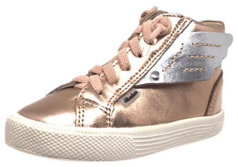 Old Soles Girl's 1057 Copper Leather Urban Wings High Top Lace Up Sneaker Shoe