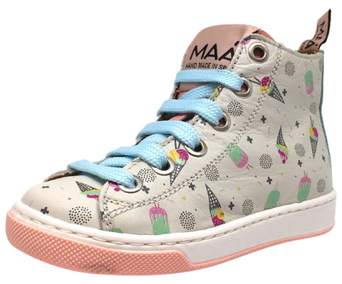 MAA Girl's Grey Pastel Leather Ice Cream Print Lace Up High Top Sneakers
