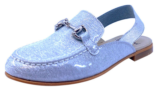 Luccini Girl's JENNIFER Cuerolite Natural Loafer with Elastic Strap - Silver