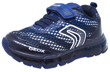 Geox Respira Boy's J Android Mesh Light Up Elastic Lace Hook and Loop Sneaker Shoe, Navy - Just Shoes for Kids  - 1